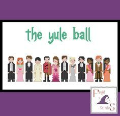 Recreate the beauty and magic of the Yule Ball with this cross stitch wall hanging. Featuring:  Neville and Ginny Cedric and Cho Victor and