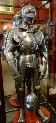 Field armor, South German, circa 1510. Associated with Wladislaus II, King of Bohemia & Hungary, due to crowned W on breastplate; the armor's restrained decoration may indicate that it belonged to a member of Wladislaus' nobility.