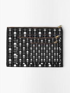 """Black & White Skull Stripes"" Zipper Pouch by HavenDesign Iphone Wallet, Iphone Cases, Gifts For Family, Zipper Pouch, Pouches, Chiffon Tops, Skull, Stripes, Black And White"