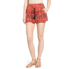 Women's Band Of Gypsies Smocked Shorts ($55) ❤ liked on Polyvore featuring red and band of gypsies