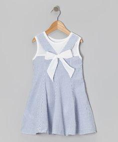 Look at this #zulilyfind! Blue Stripe Bow Seersucker Dress - Toddler & Girls by Lil Cactus #zulilyfinds