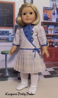 Pleated Frock made to fit American Girl Doll Kit American Girl Doll Shoes, American Doll Clothes, Ag Doll Clothes, American Girls, Baby Girl Dress Patterns, Doll Dress Patterns, Clothes Patterns, Baby Girl Party Dresses, Little Girl Dresses