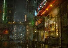 Digital Art Chinese Alley by Daniel Kvasznicza