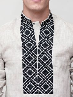Mens embroidery minimalism shirt Designer by EtnoDim with geometric embroidery. Used black and gray threads German company Cloth - Linen (Gray) looking sharp 🌴 African Shirts, African Wear, African Men Fashion, Mens Fashion, Fashion Outfits, Gents Kurta, Estilo Cool, Kurta Men, Kurta Style