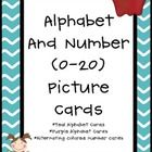 Alphabet Cards with Teal and Purple Backgrounds. ***I added number cards 0-20...