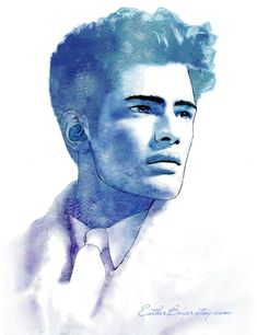 Hommes - Blue Watercolor Fashion Illustration Fine Art Print