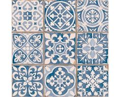 Tapestry Blue Tiles 33 x 33 cm Wall Tiles Patchwork Tiles, Patchwork Patterns, Tile Patterns, Knitting Patterns, Tiles Uk, Blue Tiles, Cement Tiles, Wall And Floor Tiles, Wall Tiles