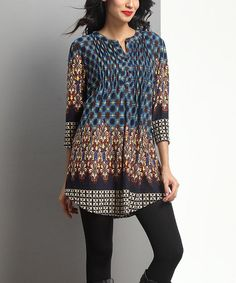 Another great find on #zulily! Brown & Blue Floral Notch Neck Tunic #zulilyfinds SIZE LARGE
