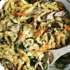 Combine the retro flavours of curried sausages with a delicious creamy pasta bake for the perfect midweek family meal. Lamb Chop Casserole, Casserole Dishes, Lemon Yogurt, Yogurt Cake, Creamy Pasta Bake, Chris Lilley, Sausage Pasta Bake, Curried Sausages, Lamb Loin Chops