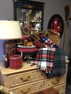 A nice sized picnic basket with a tartan throw and hunting horn seems very romantic hunting themed. Romancing the Home and a super book giveaway! - The Enchanted Home