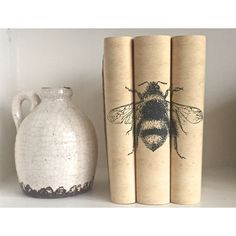 Bee Decorative Books with Custom Book Covers ($60) ❤ liked on Polyvore featuring home, home decor and stationery