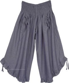 Chambray Gaucho Culotte Pants with Front Pockets Culotte Pants, Skirt Pants, Ruffle Pants, Gaucho Pants Outfit, Fashion Pants, Boho Fashion, Fashion Design, Split Skirt, Boho Look