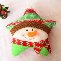 Funny Cute Christmas Snowman Santa Claus pillow plush pillow coussin c Christmas Tree Template, Paper Christmas Ornaments, Felt Christmas Decorations, Personalized Christmas Ornaments, Felt Ornaments, Christmas Stockings, Christmas Crafts, Ornaments Ideas, Christmas Gingerbread House