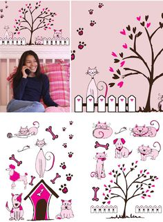 Art Applique Cats and Dogs Wall Sticker - Wall Sticker Outlet