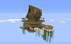 House in a floating island, a Minecraft creation. Minecraft Wall Designs, Minecraft Interior Design, Minecraft Decorations, Minecraft Architecture, Minecraft Projects, Minecraft Crafts, Minecraft Buildings, Minecraft Stuff, Minecraft Video Games