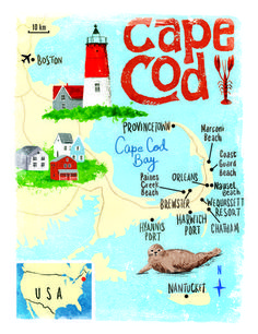 "Especially love how to the ""C"" in Cod reminds me of a fishtail at the end. Very charming.. makes me want visit! (Cape Cod for Sunday Times by Scott Jessop)"