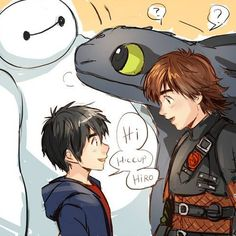 Hiro and Baymax meet Hiccup and Toothless