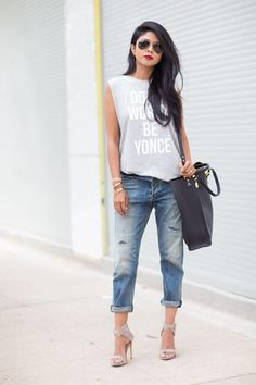"""40 Amazing Baggy Jeans Outfit Ideas - Sleeveless """"Don't Worry, Be Yoncé"""" Graphic tee + an oversized leather tote and cuffed baggy denim"""