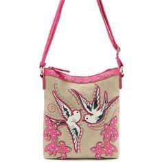 Western Cowgirl Bird Embroidery Design Messenger Bag #GetEverythingElse #MessengerCrossBody