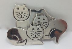 Signed Pom Taxco to 31 Cat Brooch Pin Mexican Sterling Silver ...