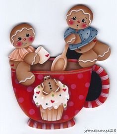 HP GINGERBREAD Boys Making Hot Cocoa FRIDGE MAGNET #Handpainted