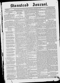 STANSTEAD - The Stanstead Journal - Google News Archive Search