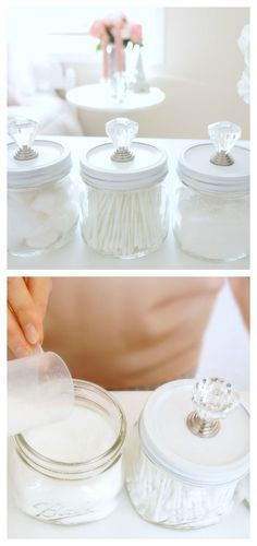 These DIY Mason Storage Jars are super easy and affordable to make! Plus, they're SO pretty! Perfect for the bathroom or bedroom| Haute & Healthy Living