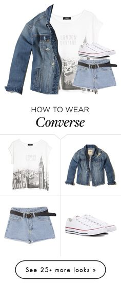"""""""Untitled #3226"""" by laurenatria11 on Polyvore featuring MANGO, Converse and Hollister Co."""