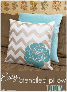 Sew Can Do: Easy DIY Decor Stenciled Pillow Tutorial using ILTC's new Tulip For Your Home supplies.  Make a stylish look  for any room - lickity split! #tulipforyourhome #stencils #diydecor @ILoveto Create