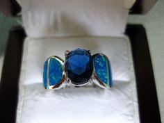 Blue Sapphire & Australian Opal Genuine 925 Solid Sterling Silver Ring Sz 7