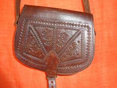 Vintage Handtaschen - Tasche*Vintage*braun*Leder*ornament*Hippie* - ein…