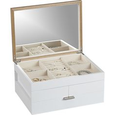 Selma Jewelry Box  | Crate and Barrel. Love this modern box for my jewels and I want another for my makeup! Keep organization classy my friends.