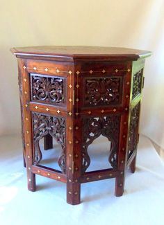 Antique Anglo Indian Octagonal Table Brass Inlay by BeeHavenHome