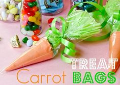 Carrot Treat Bags- sugar ice cream cone covered in orange candy melts!