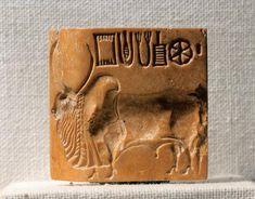 Pakistan, Mohenjo-daro, Steatite seal depicting a zebu Pakistan, Karachi, Museo Nazionale del Pakistan (Archaeological Museum), Indus Valley art