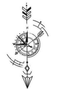 """Acabei de publicar """" 😒 """" da minha história """" Pensamentos aleatórios """". Simple Compass Tattoo, Arrow Compass Tattoo, Compass Tattoo Design, Arrow Tattoos, Geometric Compass, Geometric Tatto, Geometric Sleeve, Tattoo Abstract, Cover Up Tattoos"""
