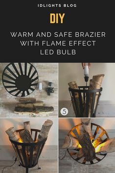 How to create a warm, risk-free atmosphere with a flame effect light bulb? Nothing easier, a few logs, a brazier, a light bulb fire and in a few minutes here is a nice wood fire. The necessary equipment a brazier or chimney some logs of the wood of your choice a flame effect #Bedroomdecor #Bedside #Diylighting #Farmhousedecor #Handmadelighting #Hugelighting #Lamp #Led #Lightbulb #Lighting #Lightingdesign #Metallic #Outdoorlighting #Patio #Recycle #Tablelamp #