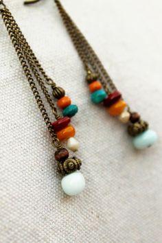 Cascading Stone Earrings by LuMagoo on Etsy,