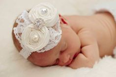 Baby headbands All White ..Baby Hair bows..Hair bow..Baptism headband....Christening Headbands....fits toddlers...girls on Etsy, $15.50