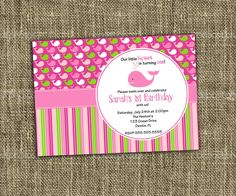 PRINTABLE INVITATION Little Squirt Pink by MemorableMomentsSt
