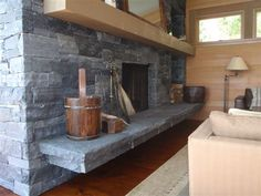 Most up-to-date Pics Fireplace Hearth flagstone Style Black Rundle Ledge with Black Rundle Flagstone Hearth Stone Fireplace Surround, Natural Stone Fireplaces, Farmhouse Fireplace Mantels, Fireplace Hearth, Stone Supplier, Flagstone Patio, Natural Stones, Modern Farmhouse, Home Improvement