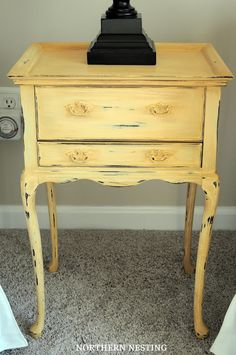 """Lovely little nightstand - would be great for husbands side, with that tiny little """"gun drawer"""" lol. Annie Sloan Arles"""