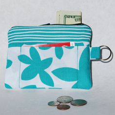 Change Purse Wallet Zipper Fabric Aqua White by mylifeinfabric, $14.00