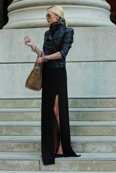 Long black dress worn w/ a leather jacket Dress: Zara. ...  elfsacks