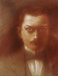 Self portrait of the Greek artist Konstantinos Parthenis (1878-1967) - National Gallery and Alexander Soutzos Museum Athens (Greece) - Pastel portrait - Style:Post-Impressionism 1899