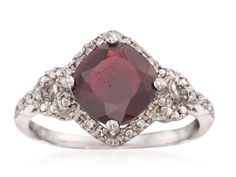 57% OFF on 2.70 Carat Garnet And Diamond Ring in Sterling Silver #Jewelry #Sale #Cheap #Frugal