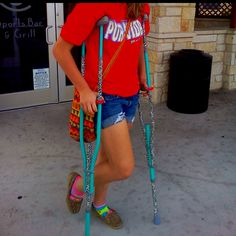 Fun, easy way to decorate crutches: Duct tape!