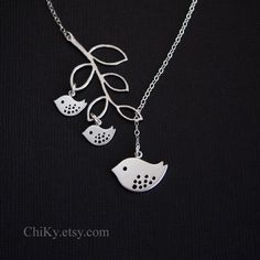 Family bird necklace, STERLING SILVER, mama and baby birds. $33.00