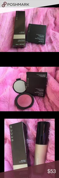 Backlight Primer Filter + Foxglove Blush Comes as a duo!  Backlight Priming Filter never used, opened only for photo purposes. Shimmering Skin Perfector Luminous Blush in FOXGLOVE.  Swatched only. All packaging included.  Lowest price, no trades.  Smoke free home. BECCA Makeup Blush