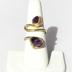 Amethyst and Swarovski crystal ring gold ring by MyWiredJewelry